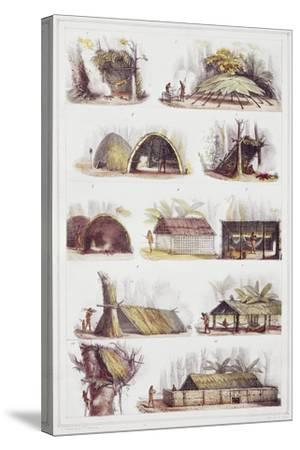 Various Types of Brazilian Huts, Engraving from Picturesque and Historic Voyage to Brazil-Jean-Baptiste Debret-Stretched Canvas Print