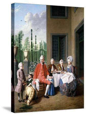Group Portrait of the Van Den Bosch Family, Dining by a House, a Topiary Garden Beyond, 1777-Jan Josef the Younger Horemans-Stretched Canvas Print