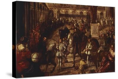 Philip II Received by Francesco Gonzaga in Mantua-Jacopo Robusti-Stretched Canvas Print