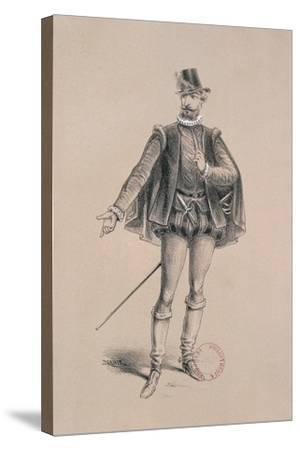 Costume Sketch for Role of Marquis of Posa for Premiere of Opera Don Carlos-Giuseppe Verdi-Stretched Canvas Print
