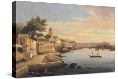 View of Genoa from the Gardens of Palazzo Doria Pamphilj-Pasquale Domenico Cambiaso-Stretched Canvas Print