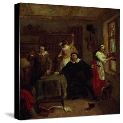 The Barber, Don Quixote's Niece, Priest and Housekeeper Purging Don Quixote's Library, Painting-John Michael Wright-Stretched Canvas Print