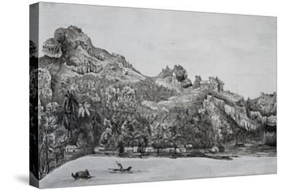 Southern View of Maupiti Island, Society Islands, Engraving from Voyage around World, 1822-1825-Louis Isidore Duperrey-Stretched Canvas Print
