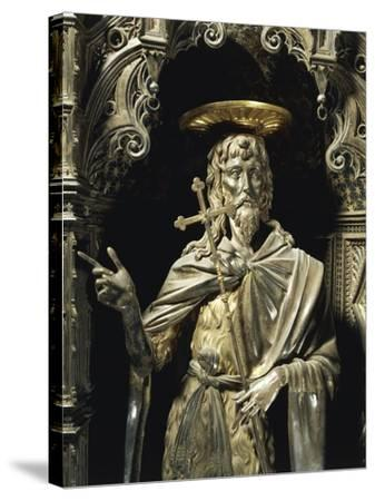 Statue of Saint John the Baptist from Silver Altar of Baptistery of San Giovanni-Michelozzo Di Bartolomeo-Stretched Canvas Print