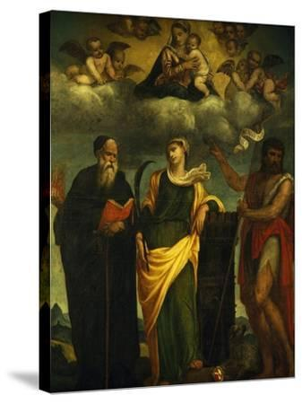 Madonna in Glory Between St John the Baptist and St Augustine-Padre Pietro Da Bagnara-Stretched Canvas Print