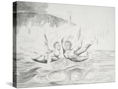 The Circle of the Corrupt Officials: the Devils Mauling Each Other-William Blake-Stretched Canvas Print