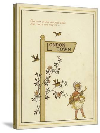 A Sign Post Points the Way to London Town with a Young Girl Walking in That Direction-Thomas Crane-Stretched Canvas Print