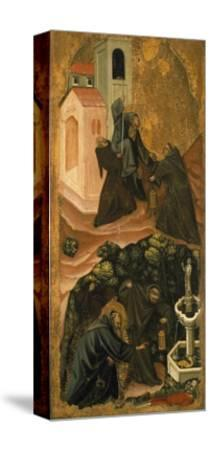 Upper Section, St. Anthony Abbot Leaving His Monastery in Patras, Lower Section-Vitale da Bologna-Stretched Canvas Print