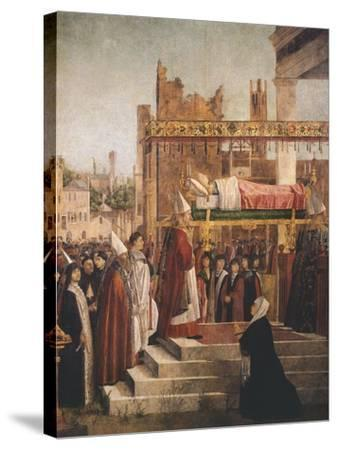 Stories of St. Ursula, Martyrdom of Pilgrims and Funeral of St. Ursula, 1493-Vittore Carpaccio-Stretched Canvas Print