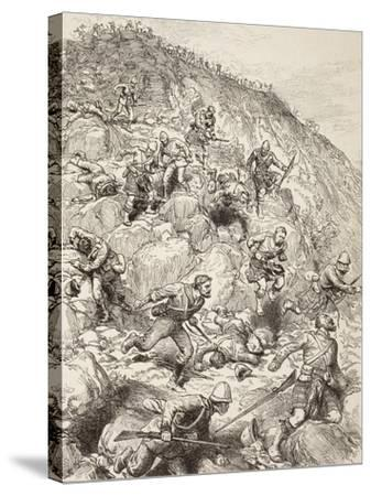 British and Scottish Troops Retreating from the Battle of Majuba Hill During the First Boer War--Stretched Canvas Print