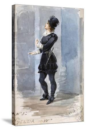 Costume Sketch by Alfred Edel for the Role of Gilda in the Fourth Act of Rigoletto--Stretched Canvas Print