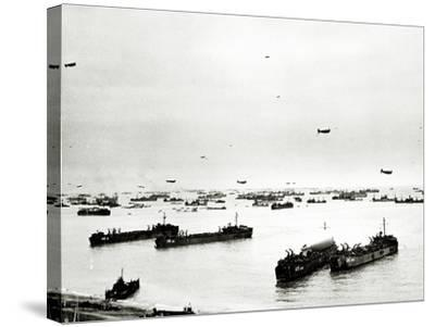 Panorama of Many Ships Which Supply the American Bridgehead--Stretched Canvas Print