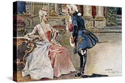 Vintage Postcard Depicting Scene from Second Act of Adriana Lecouvreur--Stretched Canvas Print
