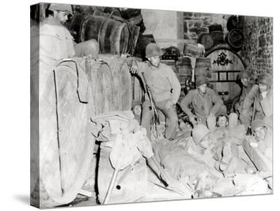 American Soldiers in a Basement with Barrels of Cider--Stretched Canvas Print