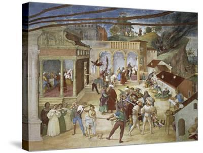 St Barbara Being Led Through Streets of City--Stretched Canvas Print