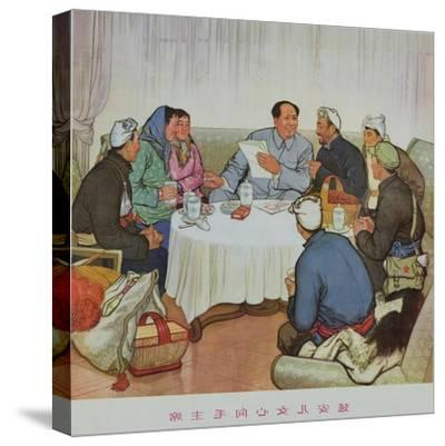 """""""The Hearts of Yenan Girls Turn Towards Chairman Mao""""--Stretched Canvas Print"""