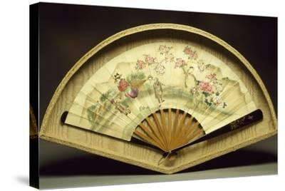 Fan with Wooden Slats--Stretched Canvas Print