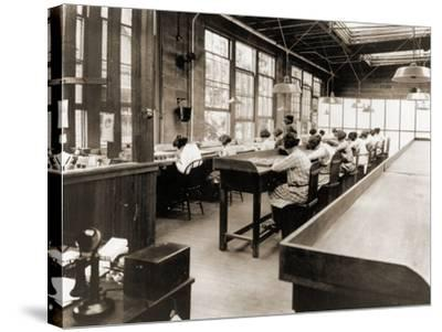 Radium Girls Work in a Factory of the United States Radium Corporation. C.1922--Stretched Canvas Print