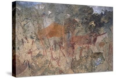 Figures of Ungulates, Bushmen or San Cave Paintings, Maloti-Drakensberg Park--Stretched Canvas Print