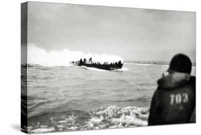U.S. Landing Craft Approaching Omaha Beach, Normandy, France, 6th June 1944--Stretched Canvas Print