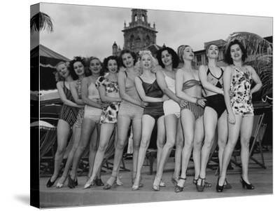 Women Model their Swimsuits at the Roney Plaza, Miami Beach, Florida, C.1940--Stretched Canvas Print