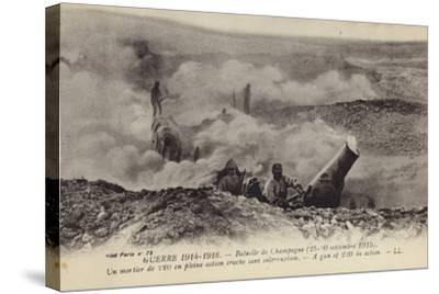 French 220 Mm Mortar in Action, Second Battle of Champagne, World War I, September 1915--Stretched Canvas Print