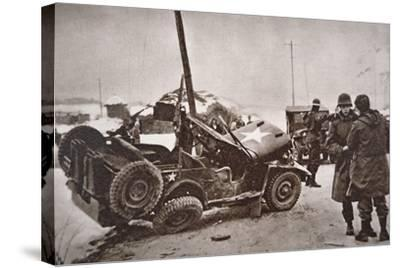 Wrecked Jeep in Which U.S. General Walker Died in a Road Collision, 23th December 1950--Stretched Canvas Print