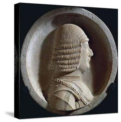 Marble Medallion with Image of Ludovico Maria Sforza, also known as Ludovico Il Moro--Stretched Canvas Print