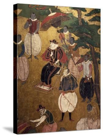 The Portuguese Arriving in Japan, Detail from Paper Screen, Japan, Nanban Art--Stretched Canvas Print