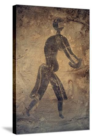 Masked Woman, Cave Painting, in Style of Man with Round Head, Bubalus Period--Stretched Canvas Print