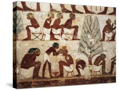 Egypt, Luxor, West Thebes, Sheik El Gurnak. Tomb of Usirhat, Barber, Details from Fresco--Stretched Canvas Print