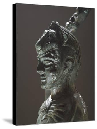 Bronze Depicting Hercules in Battle, Detail of the Head, from the Sanctuary of Villa Cassarini--Stretched Canvas Print