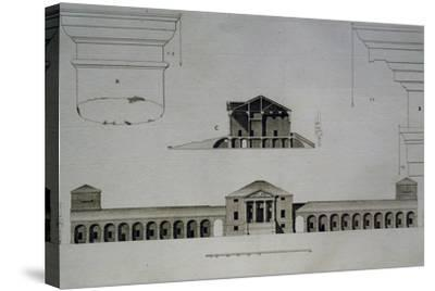 Drawing and Section of Villa Emo Capodilista, Near Padua--Stretched Canvas Print