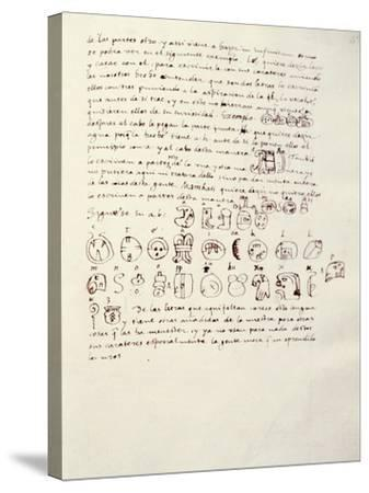 Manuscript Page with Mayan Alphabet, from Relationship of Things of Yucatan by Diego De Landa--Stretched Canvas Print
