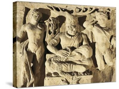 Votive Stele Portraying Celtic God Cernunnos Between Apollo and Mercury, Circa 100 A.D., from Reims--Stretched Canvas Print