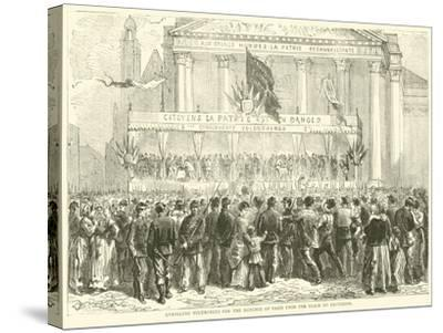 Enrolling Volunteers for the Defence of Paris Upon the Place Du Pantheon, October 1870--Stretched Canvas Print
