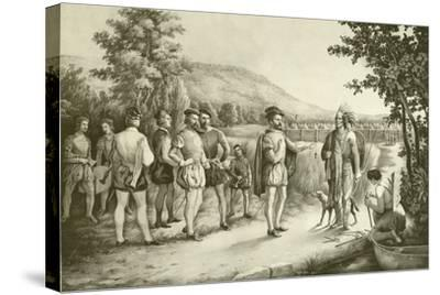 Jacques Cartier, His First Interview with the Indians at Hochelaga Now Montreal in 1535, C.1850--Stretched Canvas Print