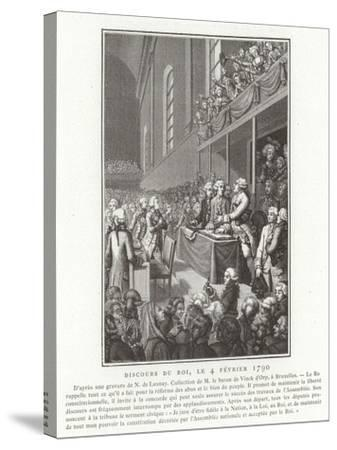 Speech by King Louis XVI of France to the National Assembly, French Revolution, 4 February 1790--Stretched Canvas Print