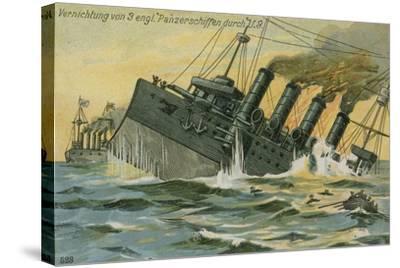 Destruction of Three British Warships by the German Submarine U-9, World War I, 22 September 1914--Stretched Canvas Print