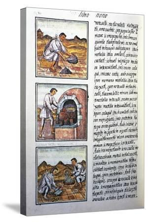 Gold Processing by Spanish-Bernardino De Sahagun-Stretched Canvas Print