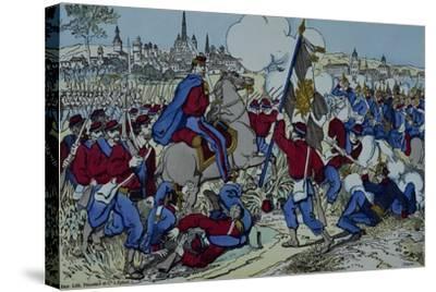 Ricciotti Garibaldi Brings the Flag of the 61 Regiment of Pomeranian--Stretched Canvas Print