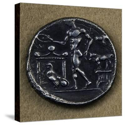 Silver Tetradrachm Depicting Young Man Making Offering in Front of Altar--Stretched Canvas Print