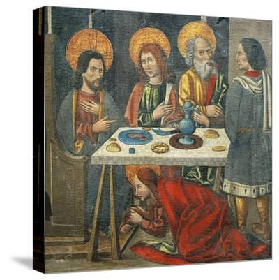 Lunch in the House of Simon the Pharisee with Mary Magdalene Drying Jesus' Feet with Her Hair--Stretched Canvas Print