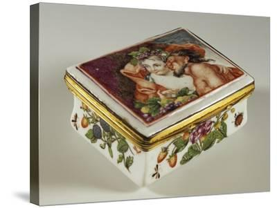 Snuffbox with Floral Decorations and Fauns--Stretched Canvas Print