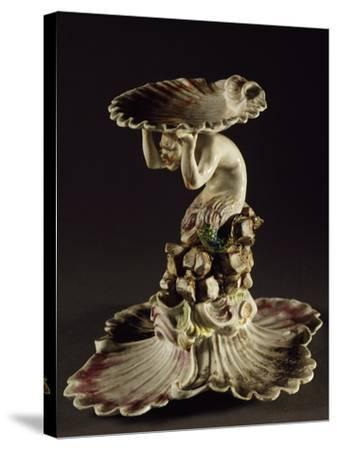 Table Centerpiece with Triton Holding Up Shell--Stretched Canvas Print