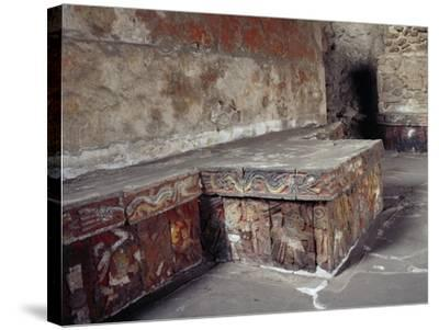 Stone Seat with Polychrome Reliefs Depicting Warriors--Stretched Canvas Print