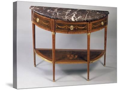 Louis XVI Style Crescent Shaped Tulipwood Dessert Console Table with Light Wood Inlays--Stretched Canvas Print