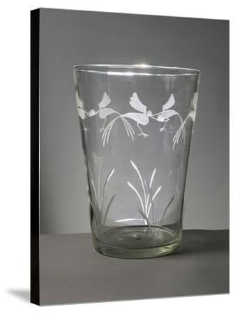 Flower Vase in White Glass with Engravings around the Rim Depicting Marsh Grasses and Wading Birds--Stretched Canvas Print