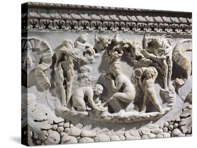 Marble Sarcophagus with Reliefs Representing Divinities and Garlands--Stretched Canvas Print