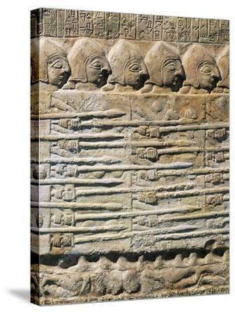 Detail of Stele of Vultures Depicting Troops of King Eannatum Conquering Umma--Stretched Canvas Print